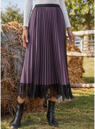 Polyester Lace Plain Lace Maxi Pleated Skirts A-Line Skirts