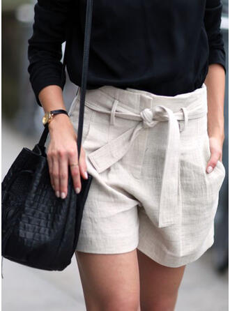 Solid Plus Size Casual Solid Shorts