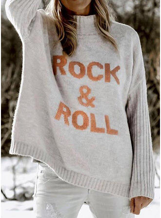 Print Letter Band Collar Casual Sweaters