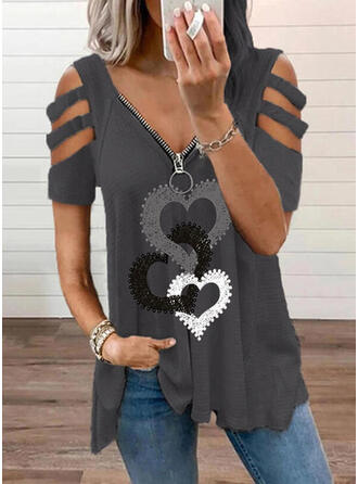Print Heart Cold Shoulder Short Sleeves Casual Knit Blouses