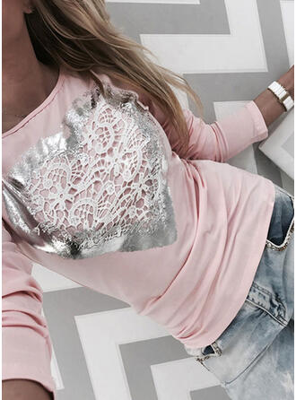 Lace Round Neck Long Sleeves Casual T-shirts