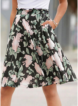 Cotton Blends Print Knee Length A-Line Skirts