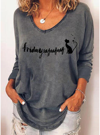 Animal Print Figure Heart Round Neck Long Sleeves T-shirts