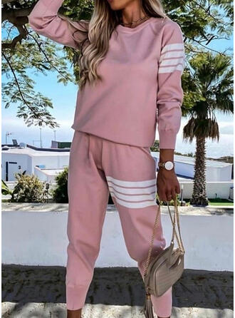 Striped Casual Plus Size Sweatshirts & Two-Piece Outfits Set