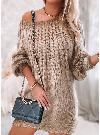 Solid Knit Long Sleeves Lantern Sleeve Shift Above Knee Casual Sweater Dresses
