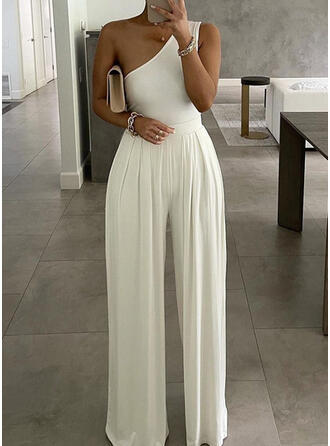 Solid One Shoulder Sleeveless Casual Sexy Jumpsuit