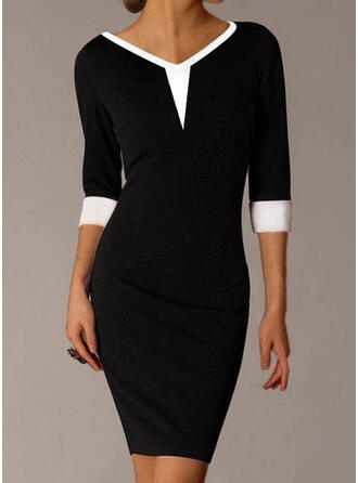 Color Block 3/4 Sleeves Bodycon Above Knee Elegant Dresses