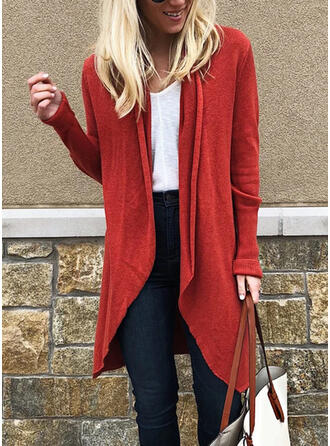 Acrylic Long Sleeves Solid Cardigans