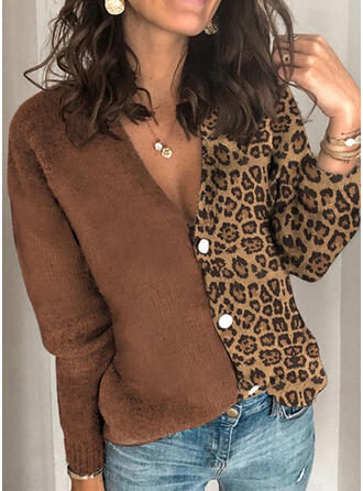 Polyester Long Sleeves Color Block Leopard Cardigans
