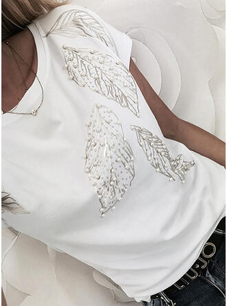Beaded Sequins Round Neck Short Sleeves T-shirts