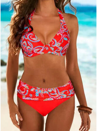 Print V-Neck Strapless Sexy Colorful Bikinis Swimsuits