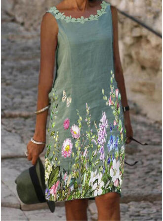 Print/Floral/Animal Lace Sleeveless Shift Knee Length Casual/Vacation Dresses