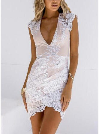 Lace/Solid Cap Sleeve Bodycon Above Knee Elegant Dresses