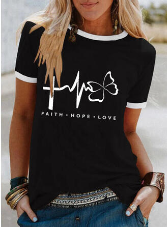 Letter Round Neck Short Sleeves T-shirts