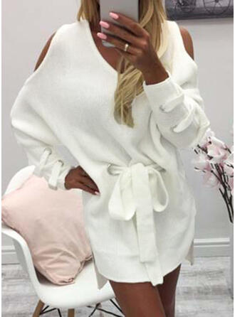 Solid Long Sleeves/Cold Shoulder Sleeve Bodycon Above Knee Casual Sweater Dresses