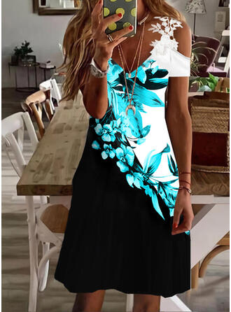 Print/Floral/Color Block Lace Short Sleeves Cold Shoulder Sleeve Sheath Above Knee Casual Dresses
