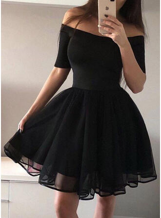 Solid 1/2 Sleeves A-line Above Knee Vintage/Little Black/Party/Elegant Skater Dresses