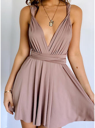 Solid/Backless Sleeveless A-line Above Knee Sexy Skater Dresses