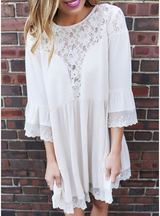 Lace/Solid 3/4 Sleeves/Flare Sleeves Shift Above Knee Casual Tunic Dresses