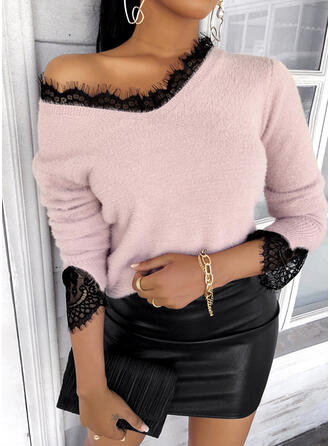 Lace V-Neck Casual Sweaters