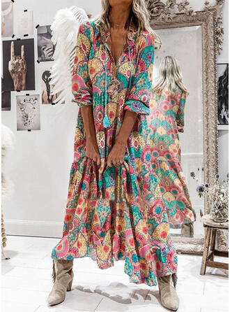 Print Long Sleeves Shift Casual/Boho/Vacation Maxi Dresses