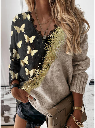 Print Color Block Animal Lace V-Neck Casual Sweaters