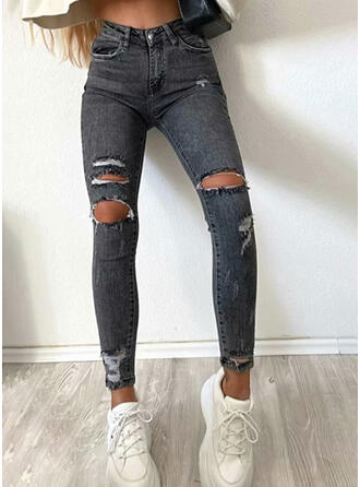 Solid Denim Long Casual Vacation Plus Size Pocket Ripped Pants Denim & Jeans