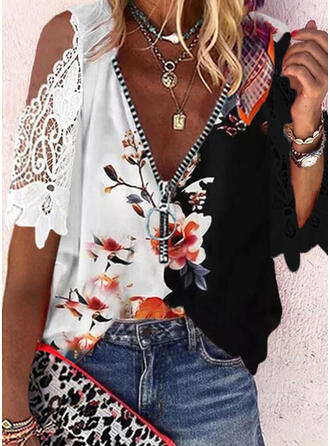 Print Color Block Floral Lace Cold Shoulder 1/2 Sleeves Casual Blouses
