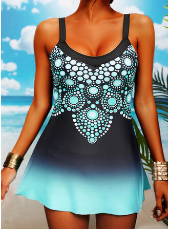 Print Gradient Strap Sexy Swimdresses Swimsuits