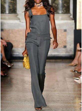 Solid Strap Sleeveless Casual Jumpsuit