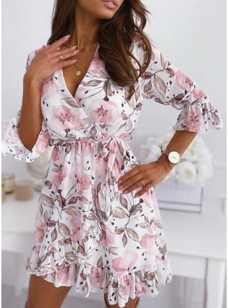 Print/Floral 3/4 Sleeves/Flare Sleeves A-line Above Knee Casual Wrap/Skater Dresses