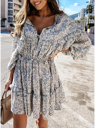 Print Long Sleeves/Lantern Sleeve A-line Above Knee Casual Skater Dresses