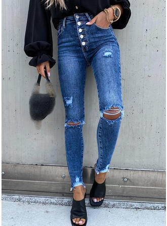 Solid Long Casual Pocket Button Denim & Jeans
