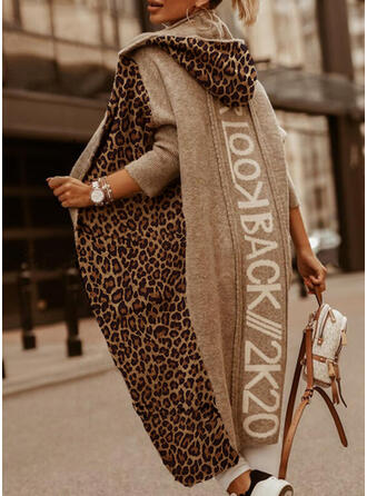 Print Color Block Leopard Hooded Casual Long Cardigan