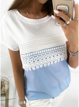 Color Block Lace Round Neck Short Sleeves T-shirts