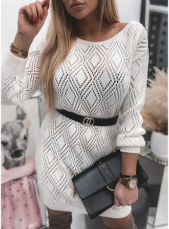 Solid Hollow-out Round Neck Casual Long Sweater Dress