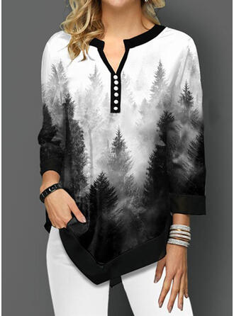 Forest V-Neck 3/4 Sleeves T-shirts