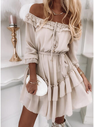 Solid/Lace-up 3/4 Sleeves A-line Above Knee Casual/Vacation Skater Dresses