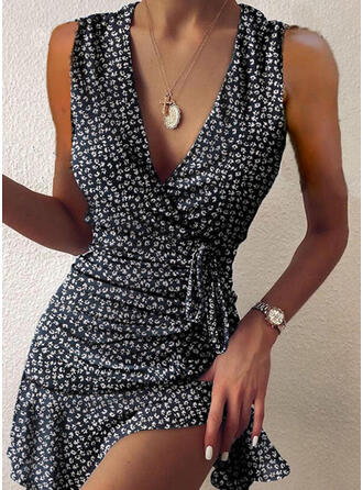 Print Sleeveless Sheath Above Knee Casual Wrap Dresses