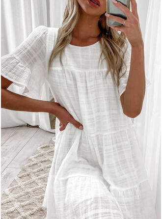 Solid Short Sleeves/Flare Sleeves Shift Above Knee Casual Dresses