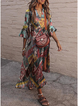 Print 3/4 Sleeves/Flare Sleeves Shift Casual/Vacation Maxi Dresses