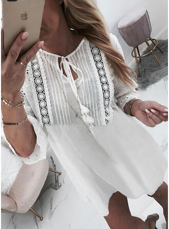 Lace/Solid/Hollow-out Long Sleeves Shift Above Knee Vacation Tunic Dresses
