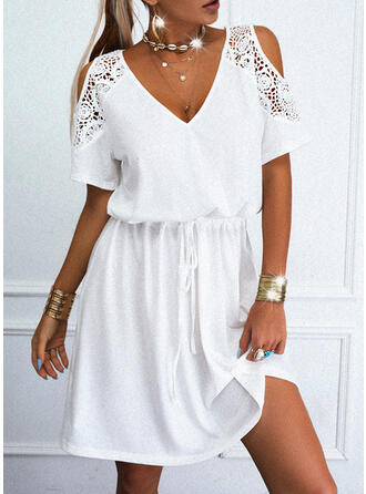 Lace/Solid Short Sleeves A-line Above Knee Casual Skater Dresses