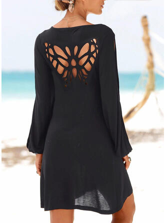 Solid Long Sleeves Shift Above Knee Little Black/Casual/Vacation Tunic Dresses