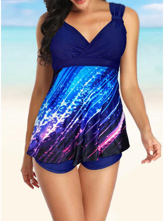Floral V-Neck Exquisite Tankinis Swimsuits