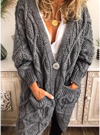 Polyester Long Sleeves Solid Cable-knit Pocket Chunky knit Cardigans