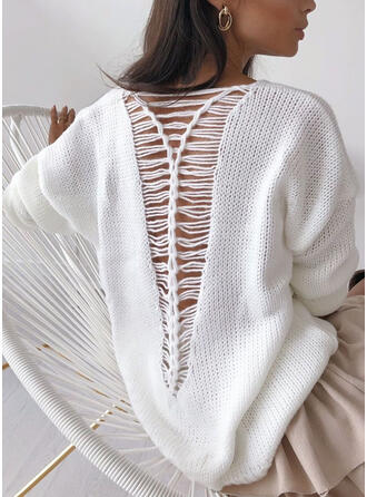 Solid Backless V-Neck Casual Sweaters