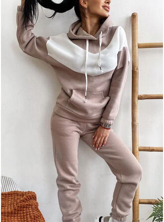Pockets Color Block Casual Plus Size Sweatshirts & Two-Piece Outfits Set