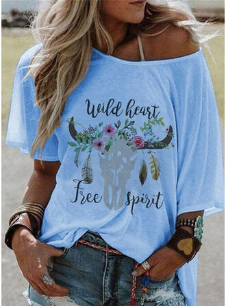 Floral Print Letter Animal Round Neck 1/2 Sleeves T-shirts