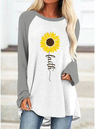 Color Block Sunflower Print Letter Round Neck Long Sleeves T-shirts